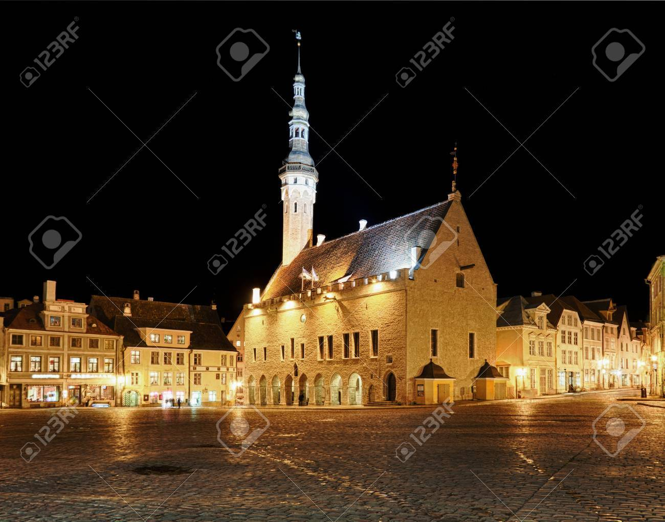 Tallinn town hall at night in Raekoya square showing the floodlit spire and tower of the hall Stock Photo - 8287291