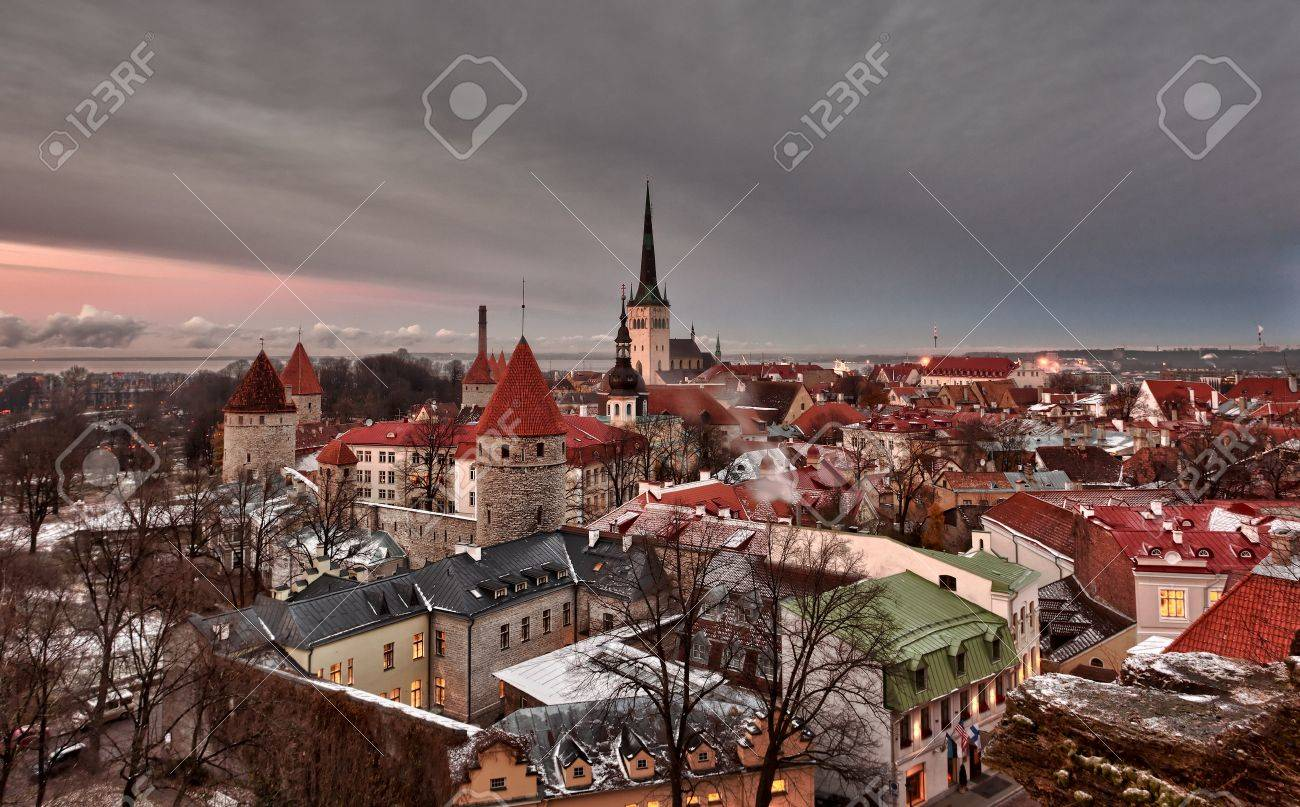 Overview of Tallinn in Estonia taken from the overlook in Toompea showing the town walls and churches. Taken in HDR to enhance the sunset Stock Photo - 8287371