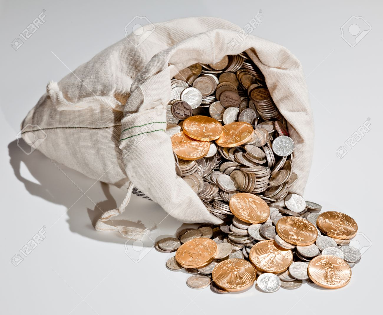 Linen bag of old pure silver coins used to invest in silver as