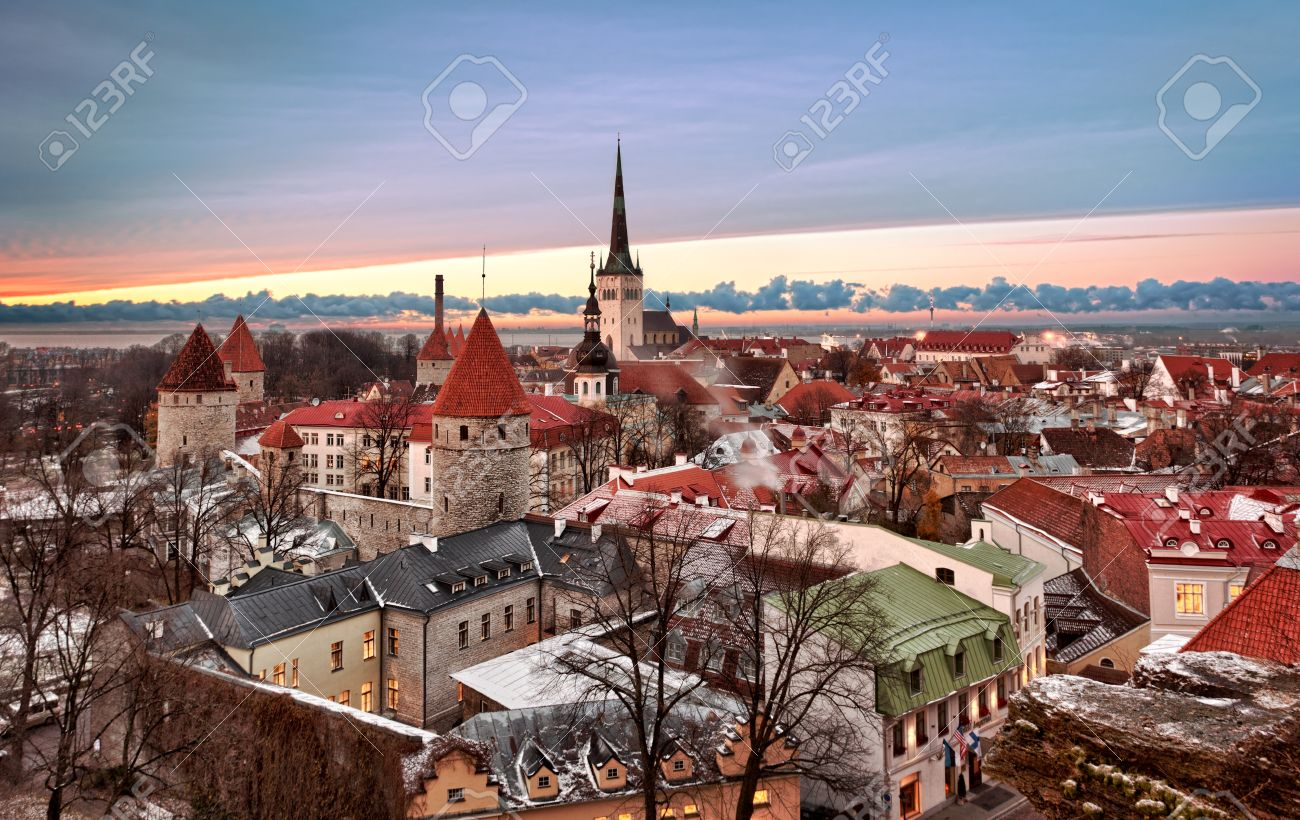 Overview of Tallinn in Estonia taken from the overlook in Toompea showing the town walls and churches. Taken in HDR to enhance the sunset Stock Photo - 8370612
