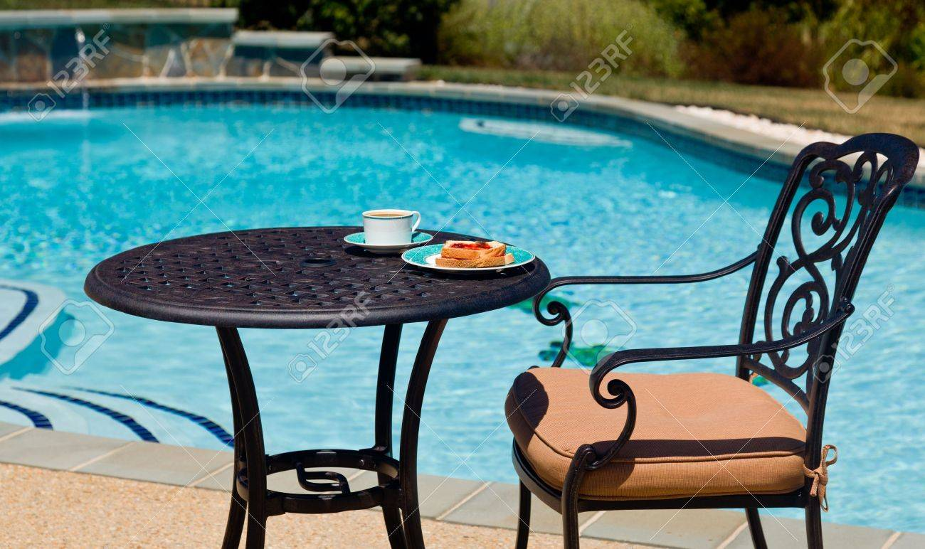 Amazing Coffee And Plate On Cast Aluminum Table And Single Chair By The Side Of Swimming  Pool