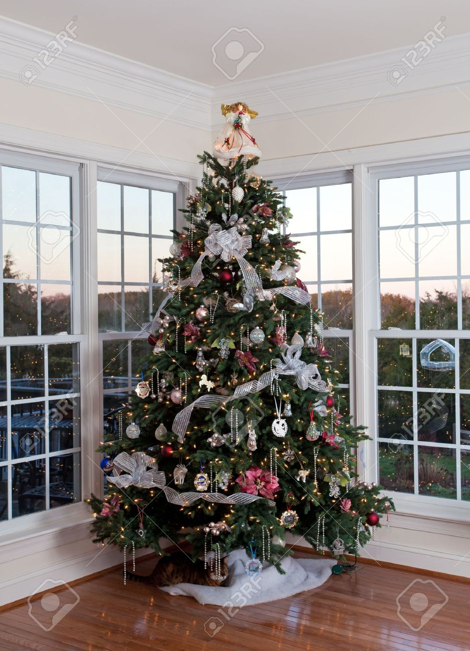 Christmas Tree Decorated With Silver And White Ribbons And Ornaments Stock Photo Picture And Royalty Free Image Image 11526583