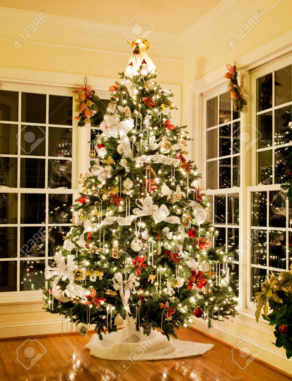 Christmas Tree Decorated With Silver And White Ribbons And Ornaments Stock Photo Picture And Royalty Free Image Image 11526711