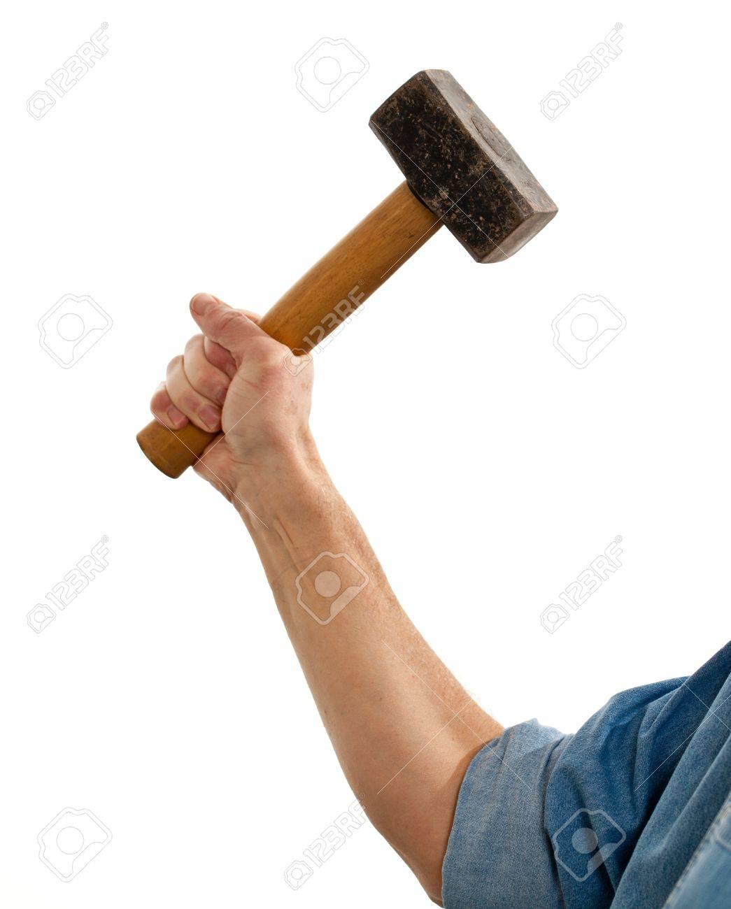 Senior male holding a large lump hammer isolated against white Stock Photo - 11781765