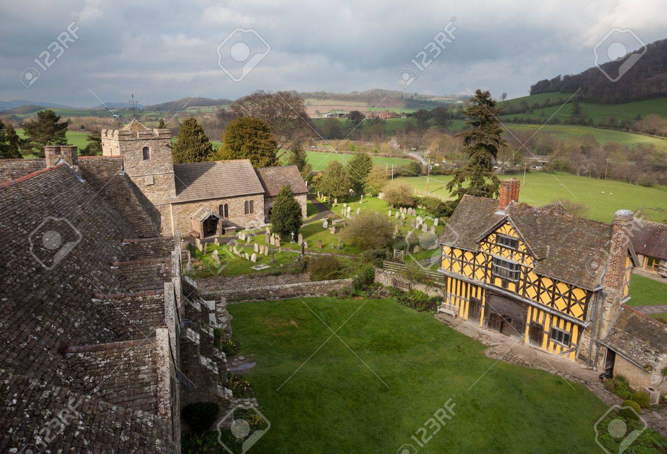 Gatehouse entrance to Stokesay castle on a dark cloudy day Stock Photo - 13203824