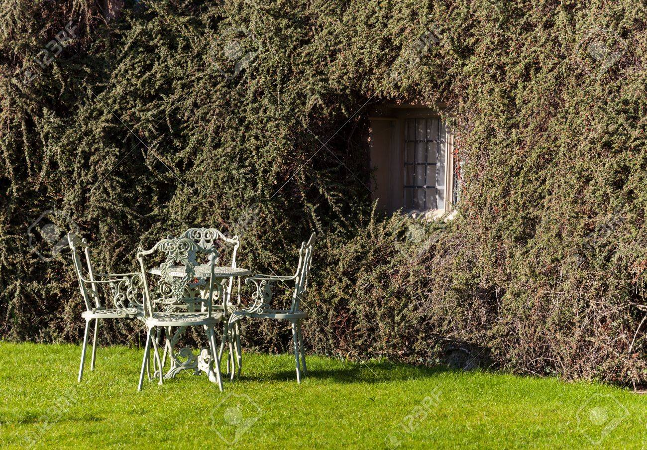 Cast iron garden table and chairs on lawn by bush on wall Stock Photo - 13198203