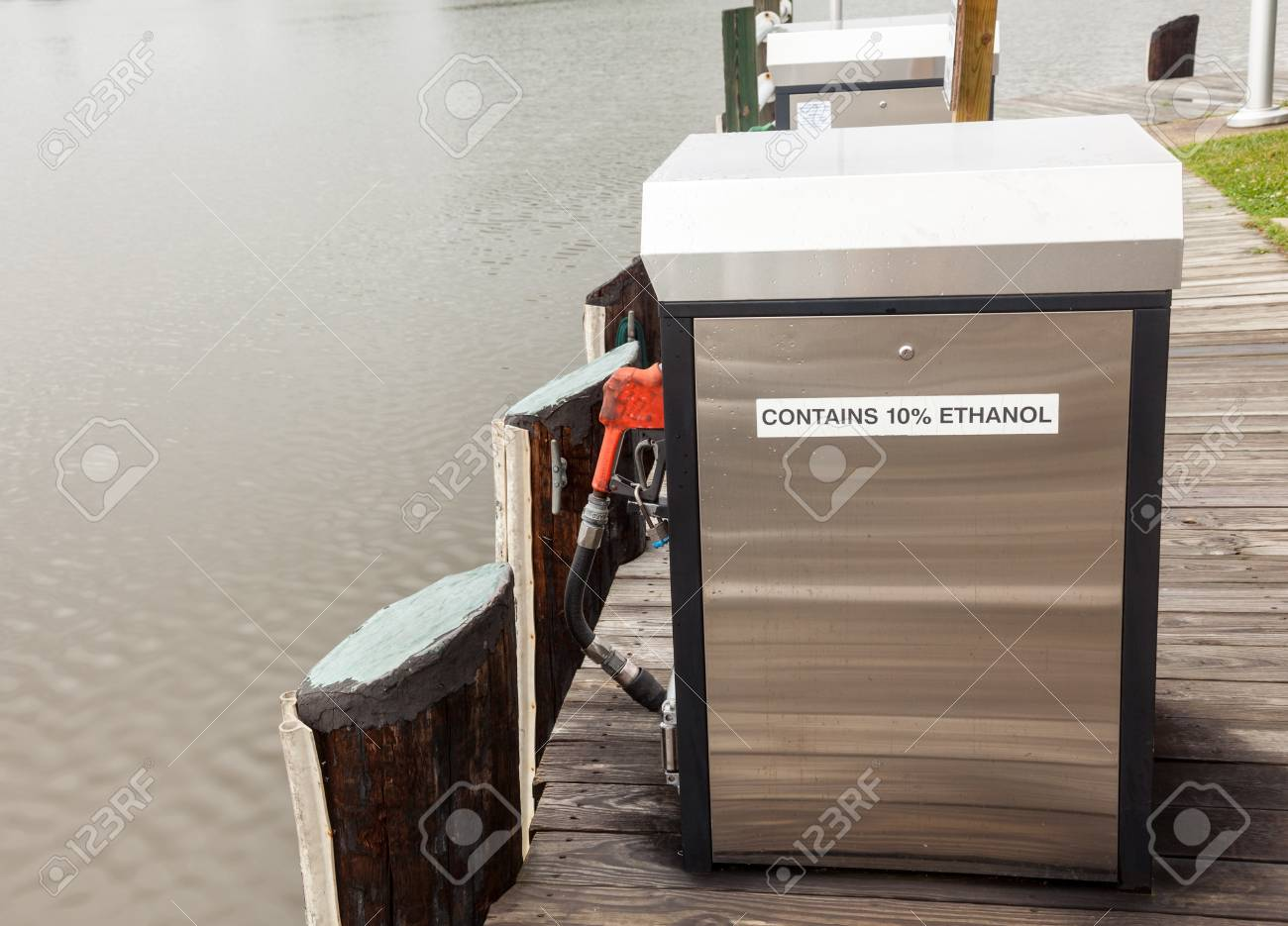 Gasoline pump with ethanol by side of marina for refueling boats Stock Photo - 13865349