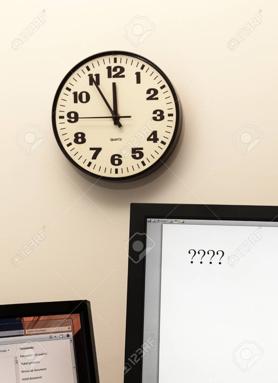 Concept for urgent decision making with clock on paper and question mark on pad Stock Photo - 14212160