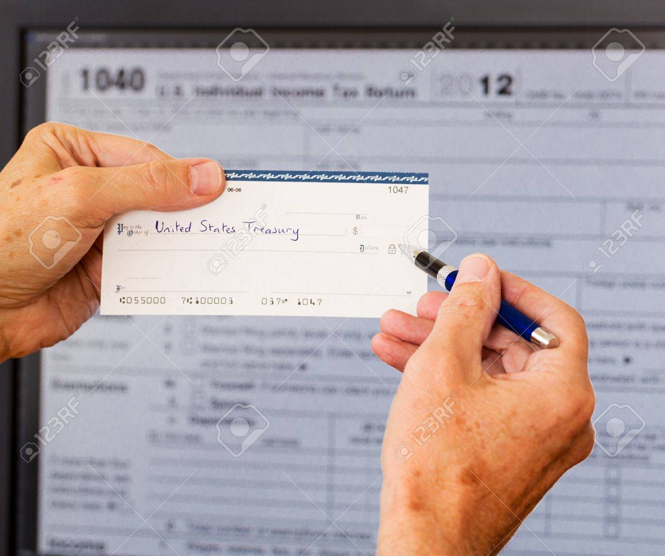 Electronic tax form 1040 for 2012 for us individual return on electronic tax form 1040 for 2012 for us individual return on screen with check payable to falaconquin
