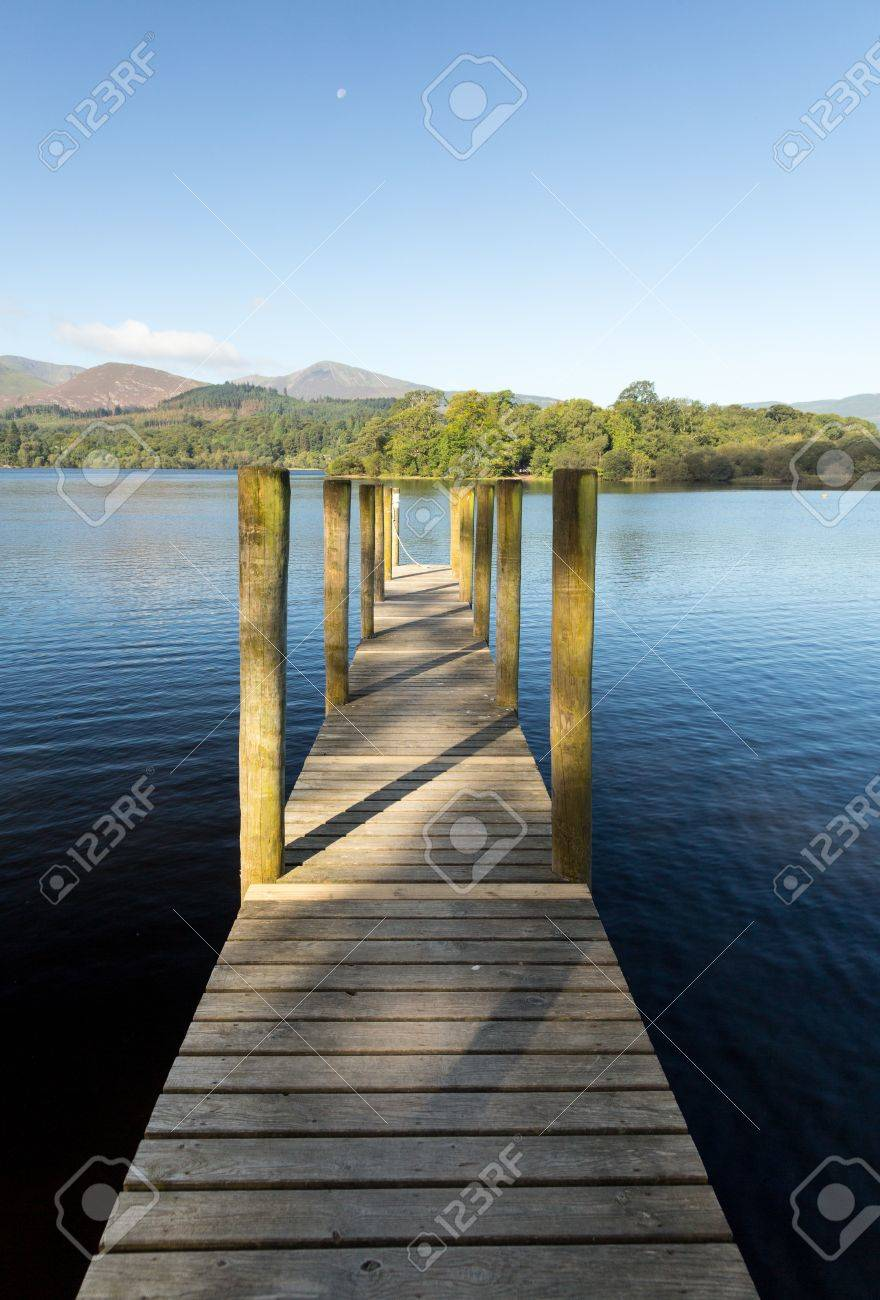 Wooden Piers on edge of Derwentwater in English Lake District in early morning Stock Photo - 15363478