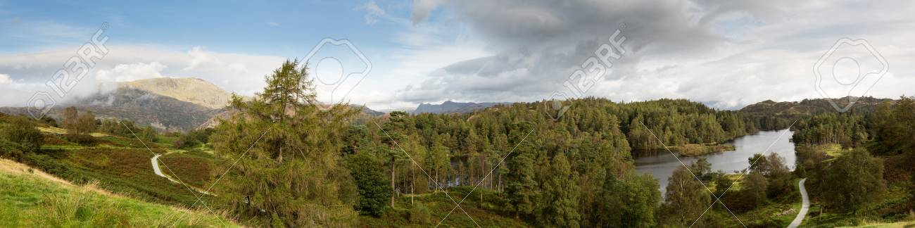Panoramic view over Tarn Hows in English Lake District Stock Photo - 15350625