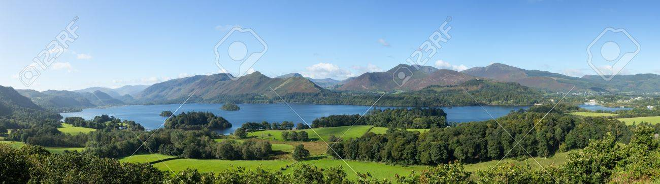 Panorama of Derwentwater in English Lake District from Castlehead viewpoint in early morning Stock Photo - 15363321