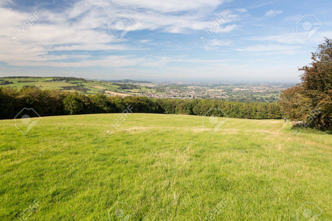 View over Winchcombe from the barrow at Belas Nap in English Cotswolds Stock Photo - 15587704