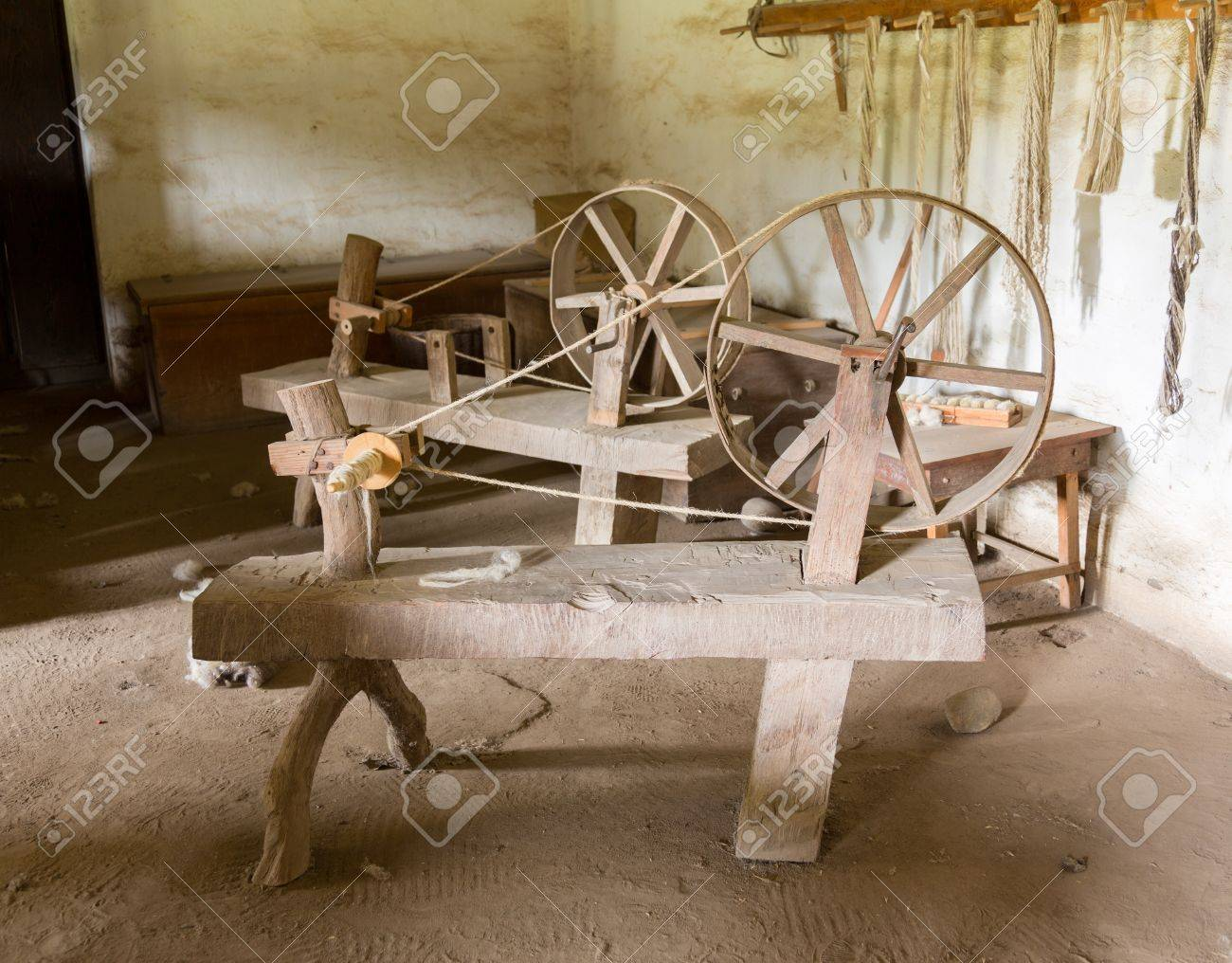 Old Spinning Wheel Made From Timber And Branches In La Purisima Stock Photo Picture And Royalty Free Image Image 17173501