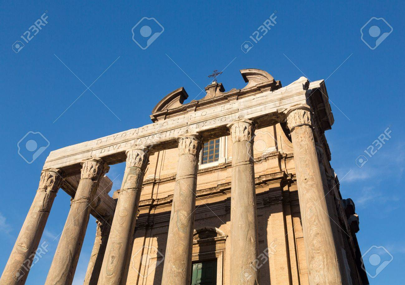Details of remains and ruins in Ancient Rome Italy showing Temple of Antoninus and Faustina Stock Photo - 18152697