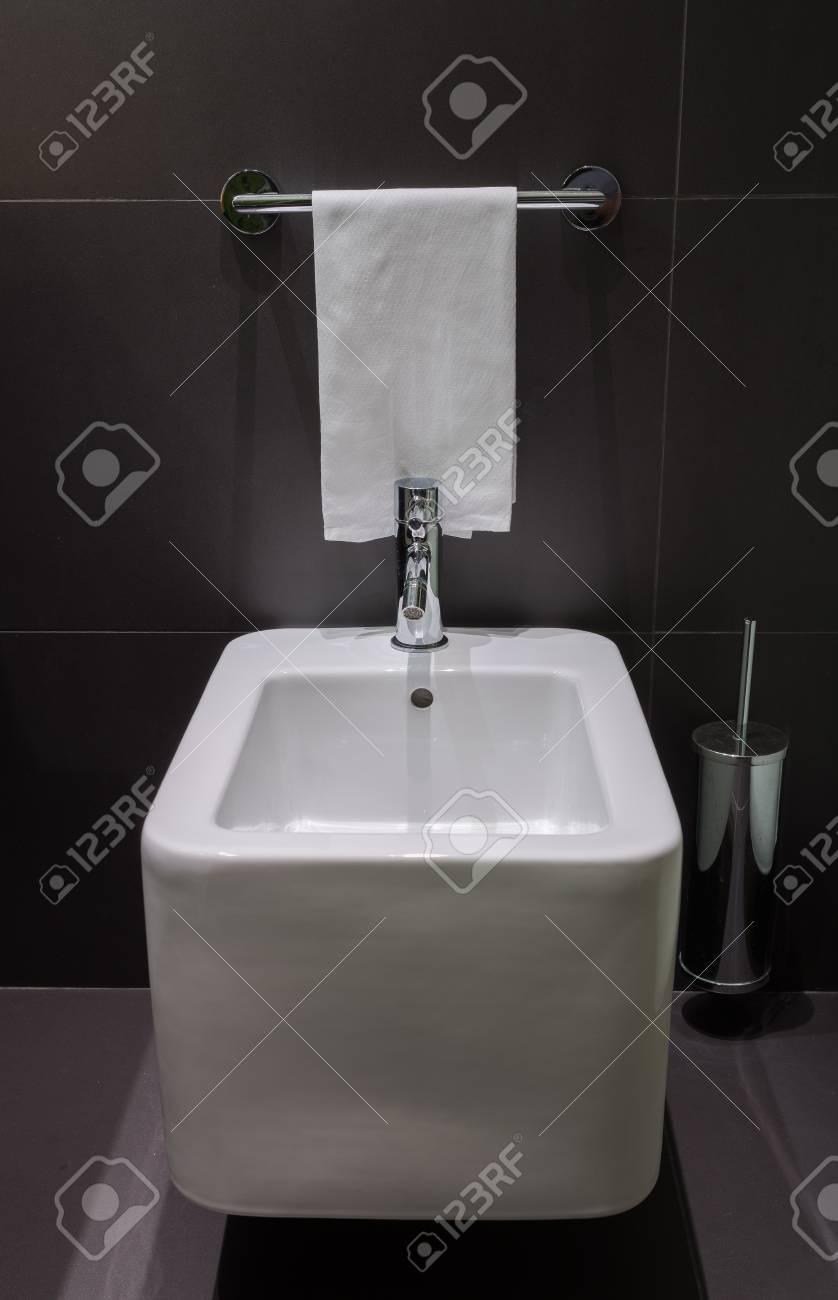 Details Of Modern Square Bidet In Black Tiled Bathroom Stock Photo ...