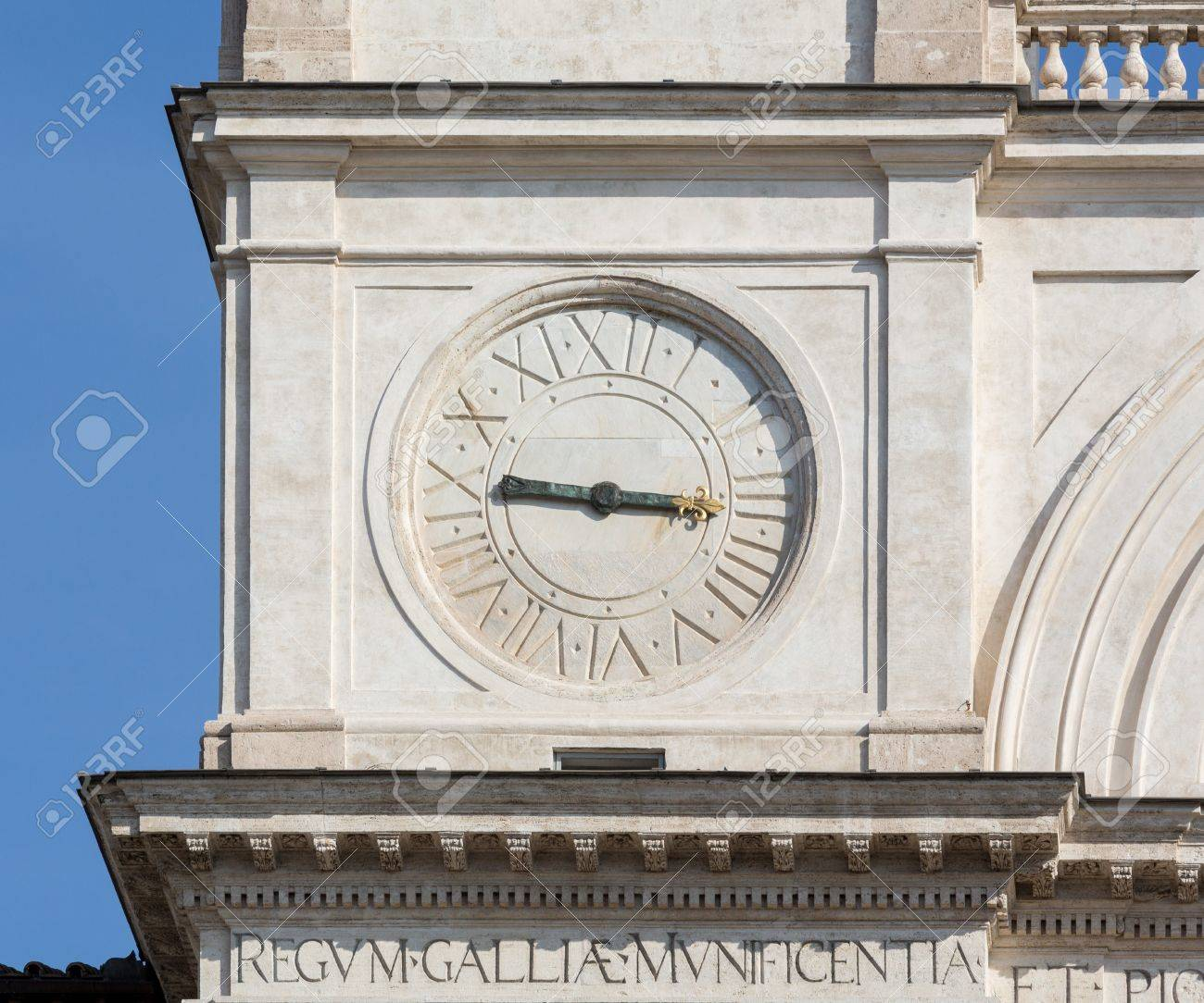 Detail of clock face on Trinita dei Monti church at top of Spanish Steps in Rome Italy Stock Photo - 18234753
