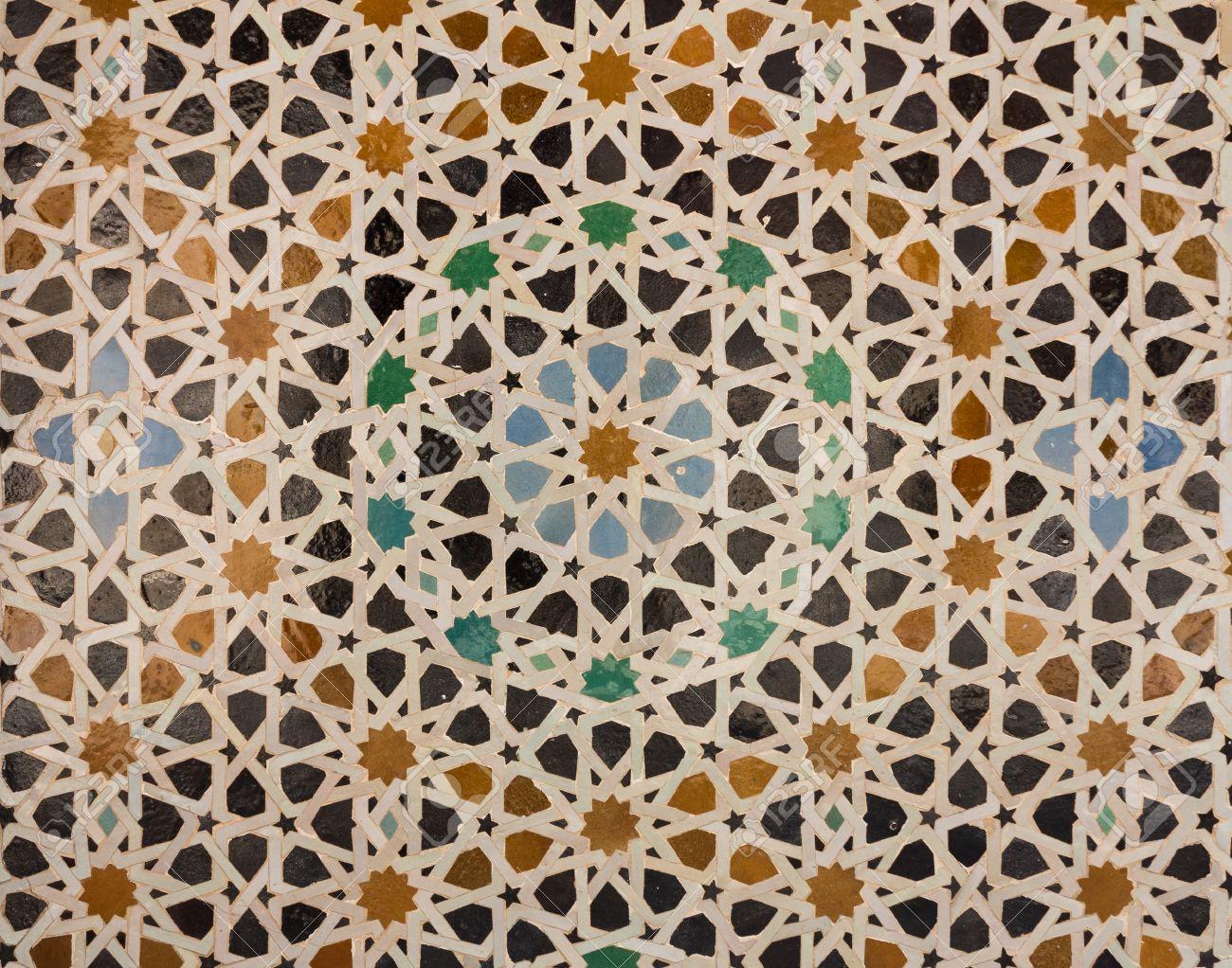 Tegels Met Patroon : Oosterse patroon mozaïek van tegels in een moskee in marokko