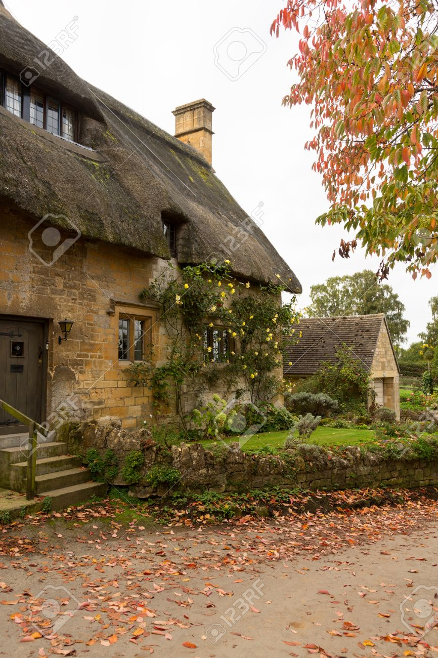 Thatched Cottage In Stanton Cotswold Or Cotswolds District Of Southern England The Autumn
