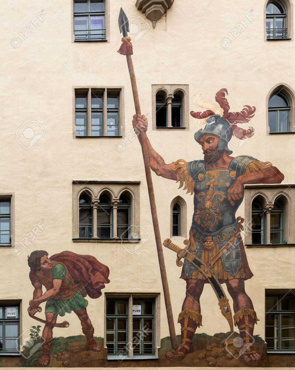 mural of david and goliath painted by melchior bocksberger in