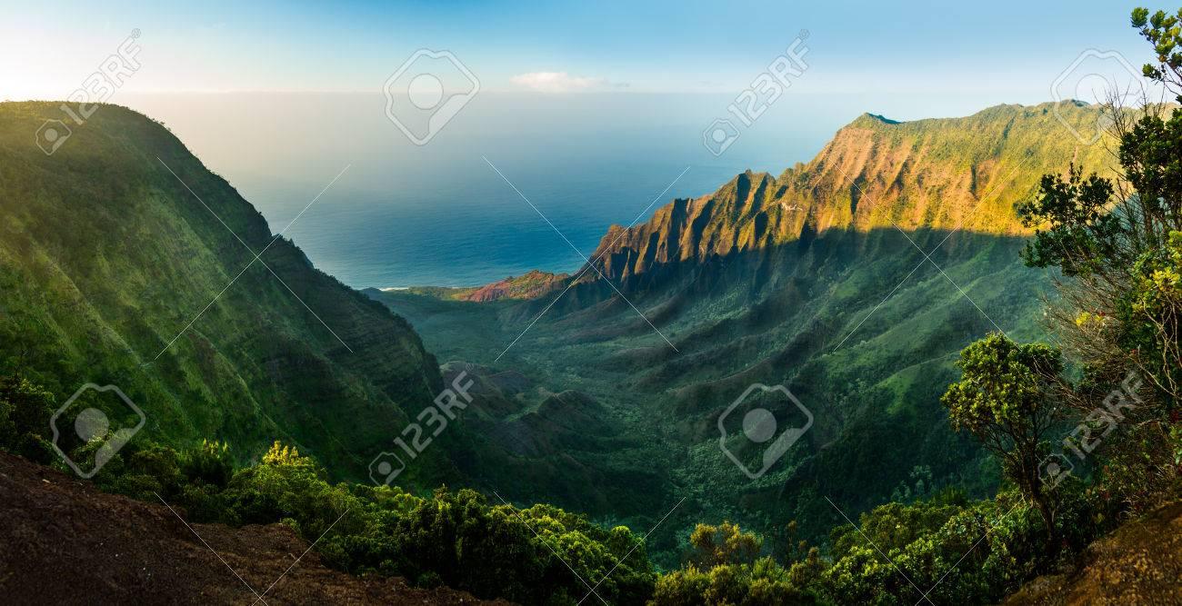 Alta Definición Panorama Sobre Kalalau Valle Como Puesta De Sol ...