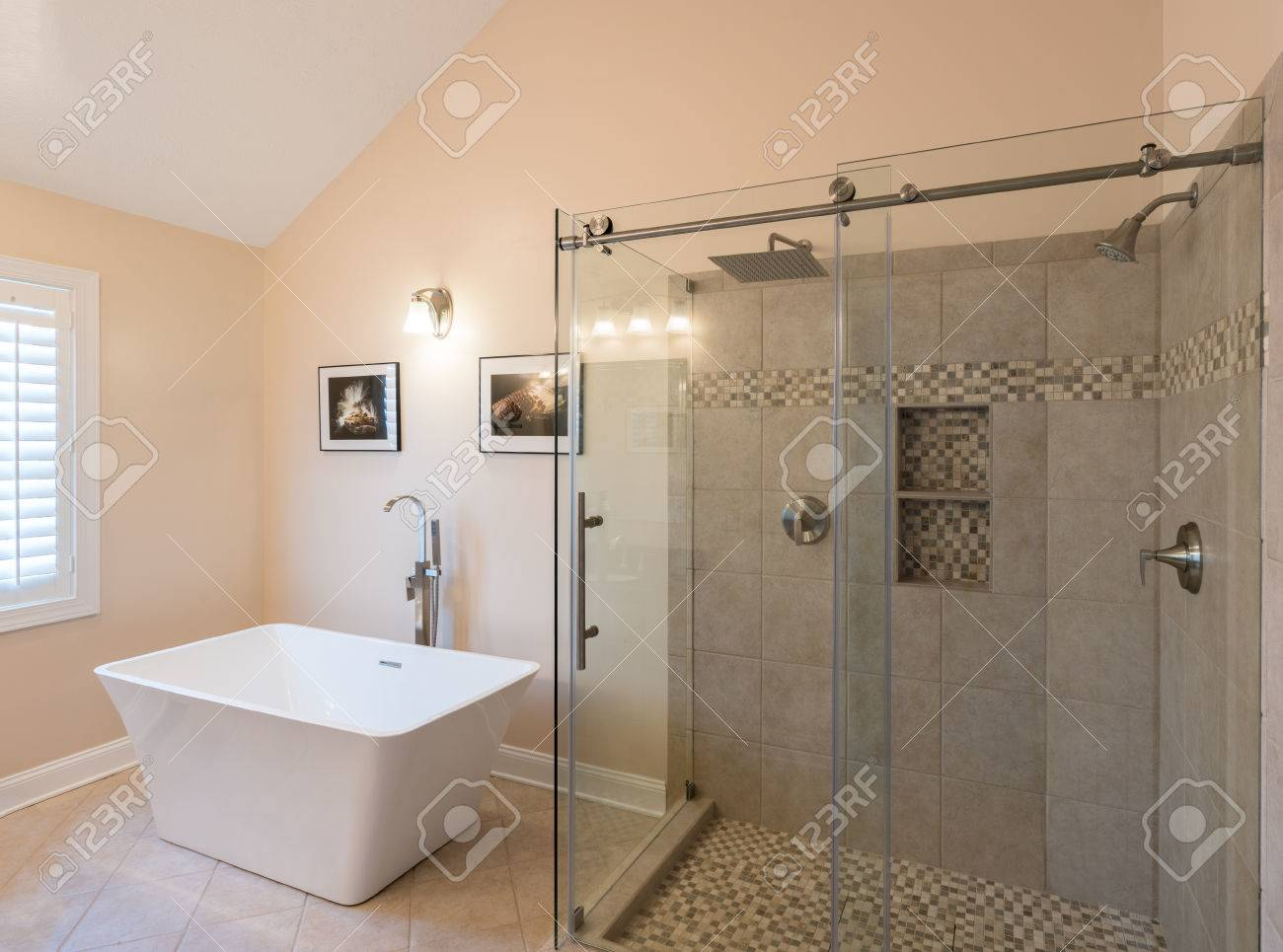 Interior Of Modern Bathroom With Standalone Tub Bath And Walk ...