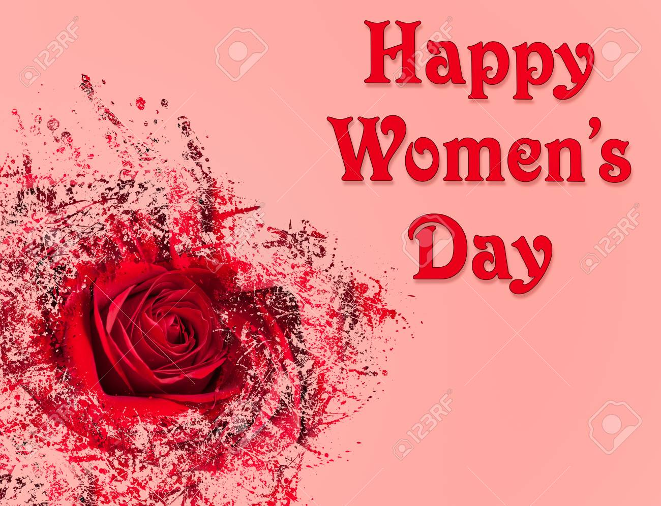 Bonne Fête Des Femmes Ou Journée Internationale Des Femmes Célébrée Le 8 Mars Image De Fond Rose Avec Rose Rouge Et Motif Abstrait Banque D Images Et Photos Libres De Droits Image 74659593