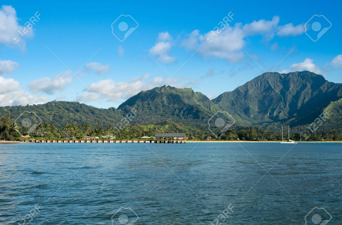 Afternoon From Boat Trip At Hanalei Bay And Pier With The Na