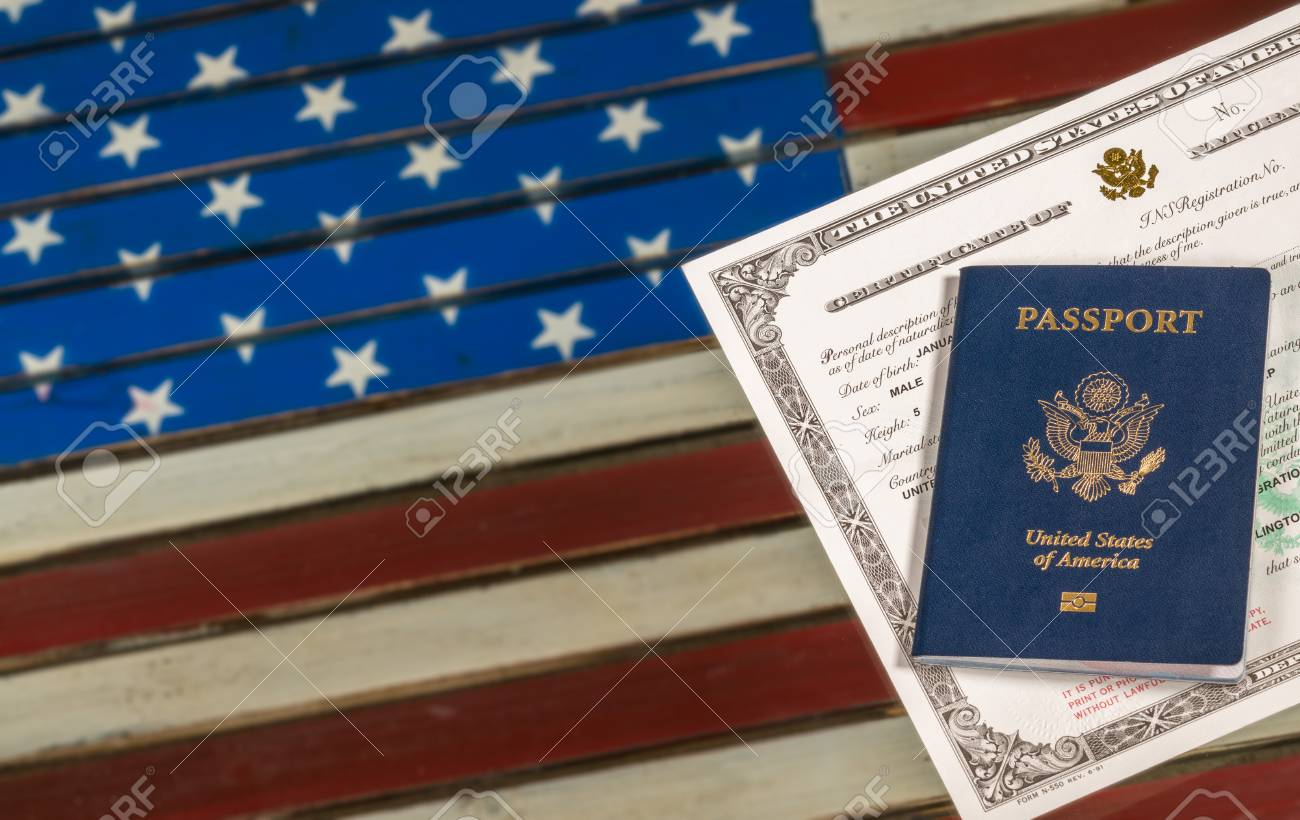 Usa Passport And Naturalization Certificate Of Citizenship Over