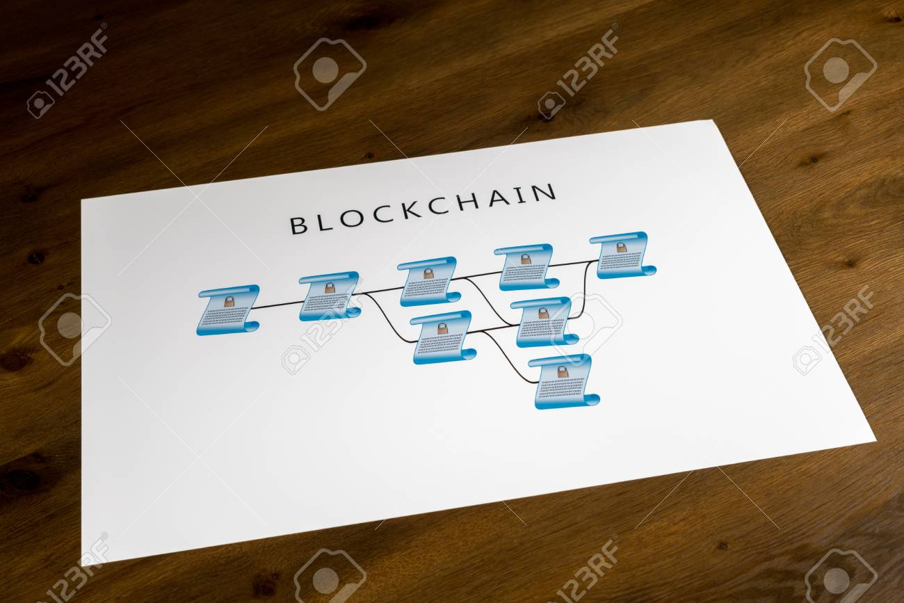 blockchain schematic on printout on desk or boardroom table showing  encrypted blocks of ledger stock photo