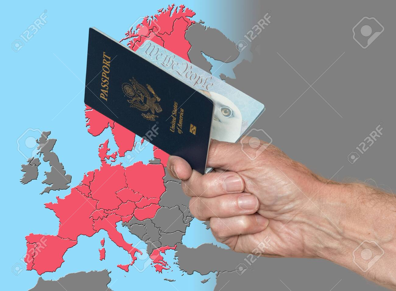 Senior man holding US pport on map of Schengen Zone of European.. on printable labeled united states map, man with map, man in america map, the man in the map, usa map, man tracking, man u smap, black population in america map, man united states, mimal on the map, pink map, u.s map, man in the mississippi, man island england, the man on the map, douglas isle of man map, iom map, man in trunk, dude in the map, syria map,