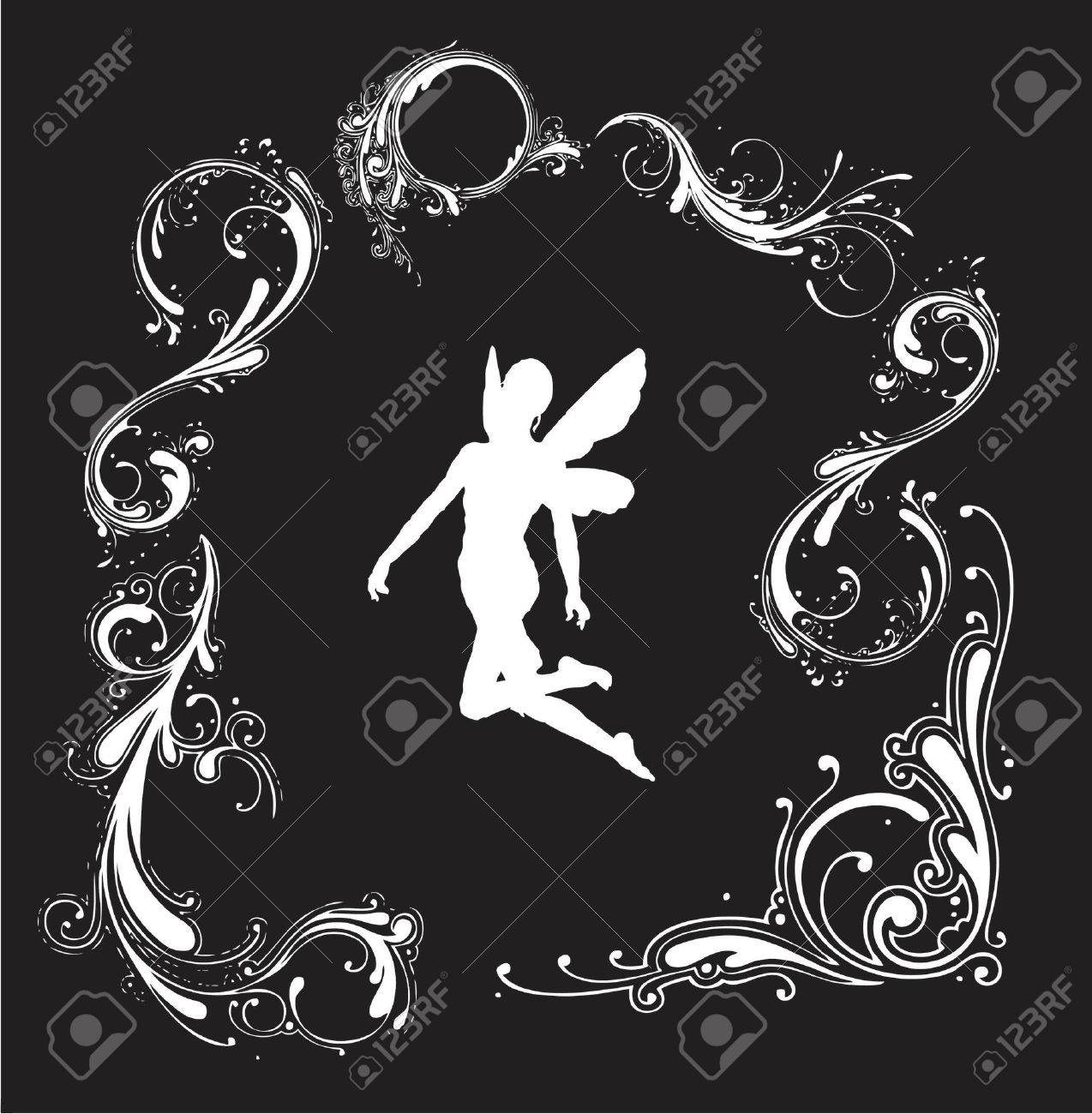 angel silhouette with floral border (vector format) Stock Vector - 892545