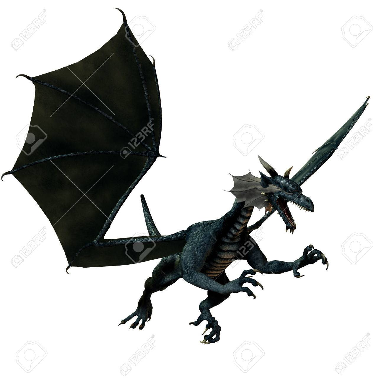 isolated dragon flying on white background - 3d render Stock Photo - 1676970