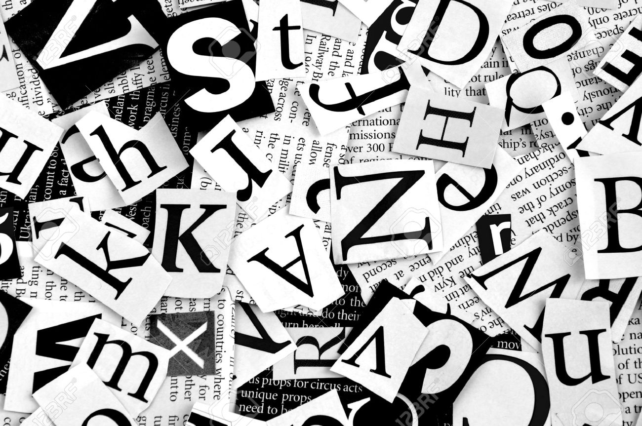 Letters Cut From Newspaper Background Stock Photo