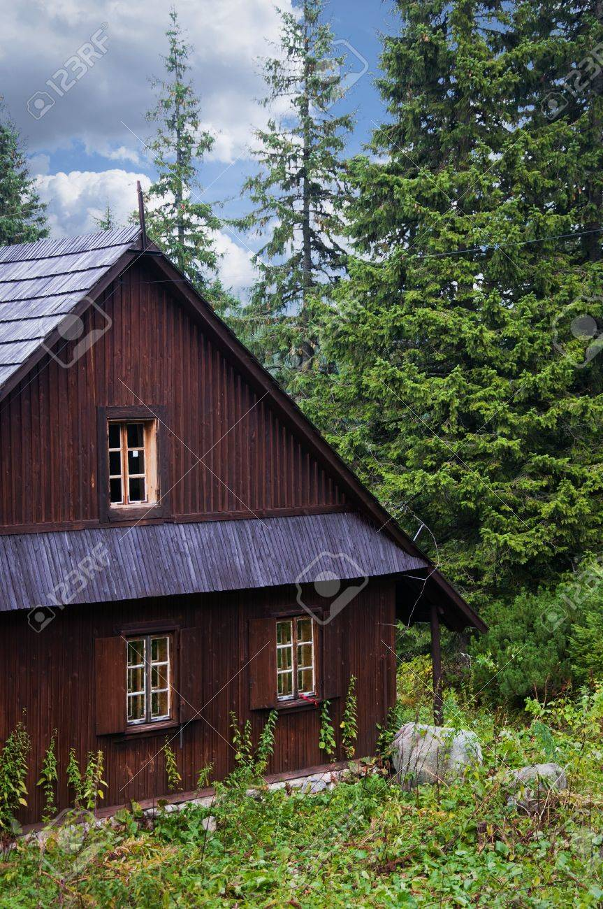 Small Wooden House In A Pine Forest Stock Photo Picture And Royalty Free Image Image 18950617