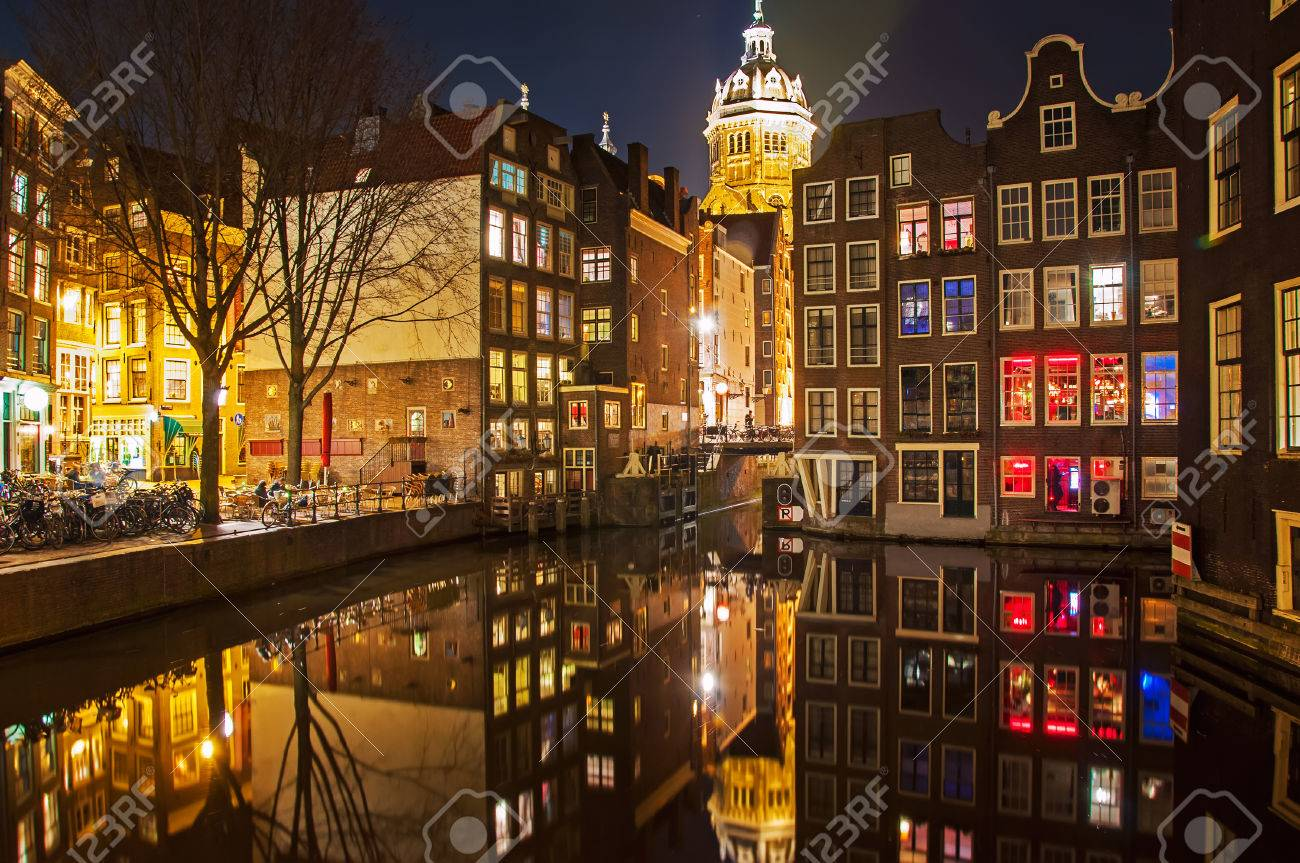 Amsterdam street at night Stock Photo - 22630475