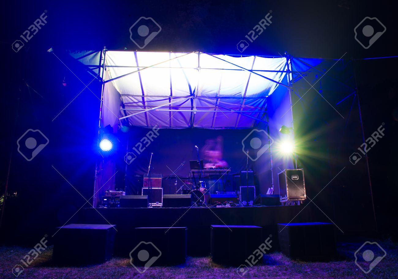 A DJ On Small Stage Stock Photo