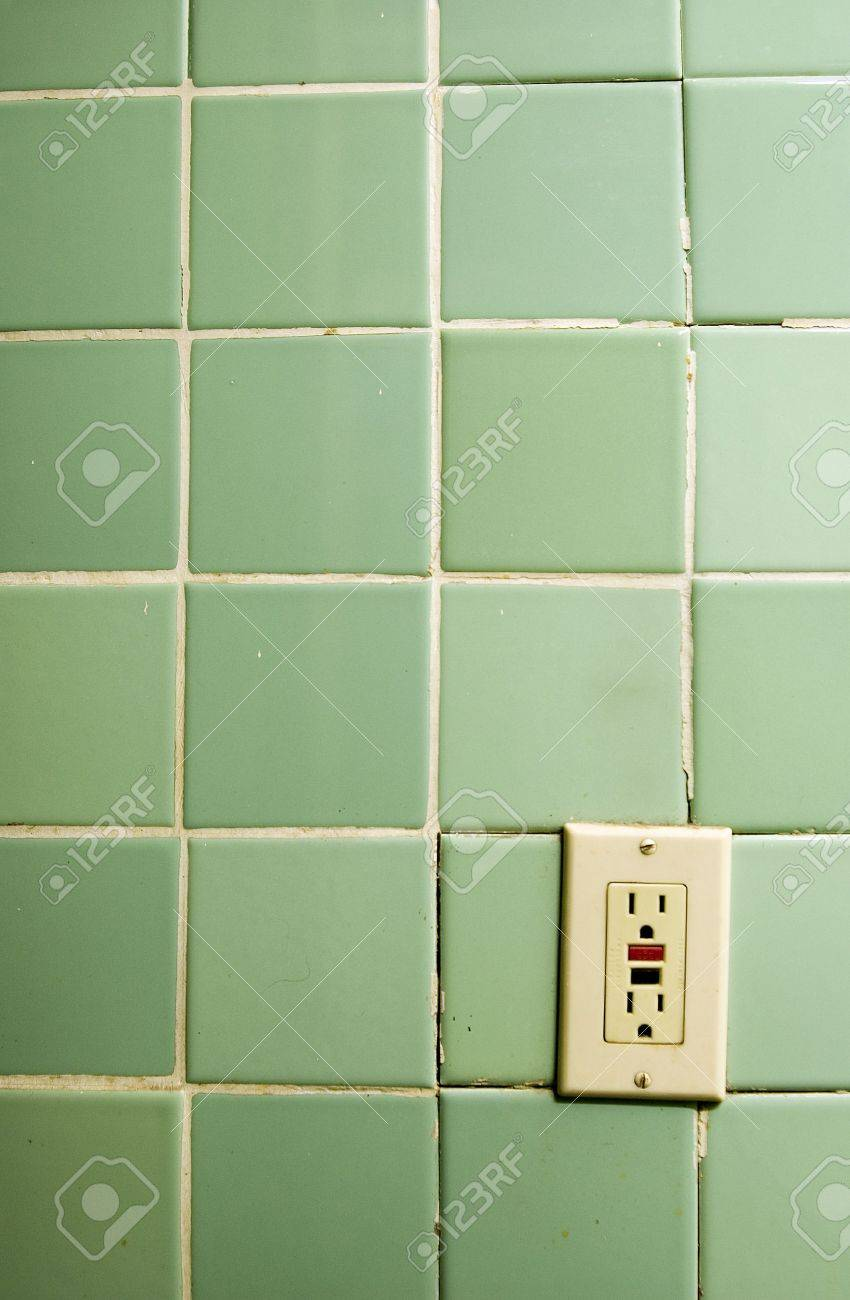 Outlet Old Bathroom Tiles With Heavily Used Outlet Stock Photo What To Do With Old