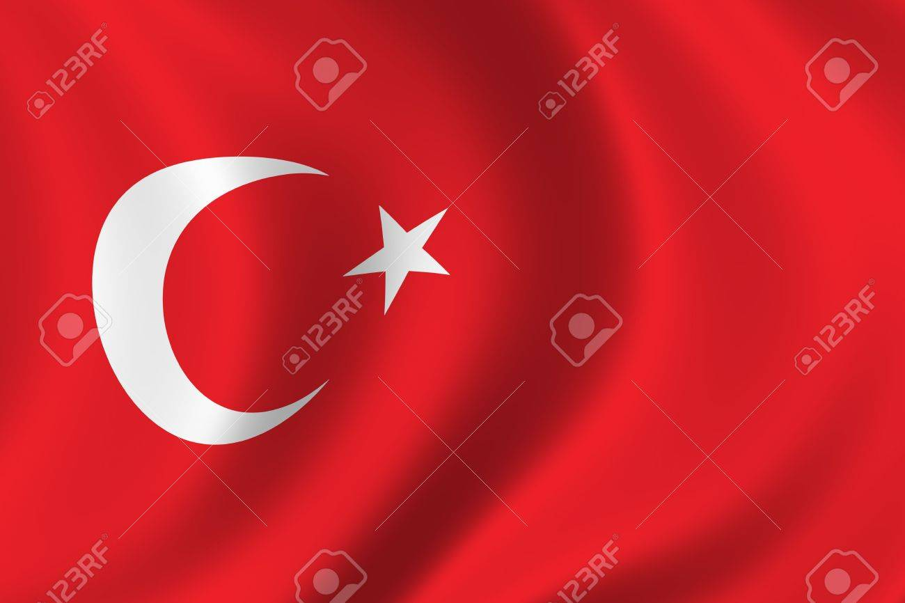 Flag of Turkey waving in the wind Stock Photo - 457350