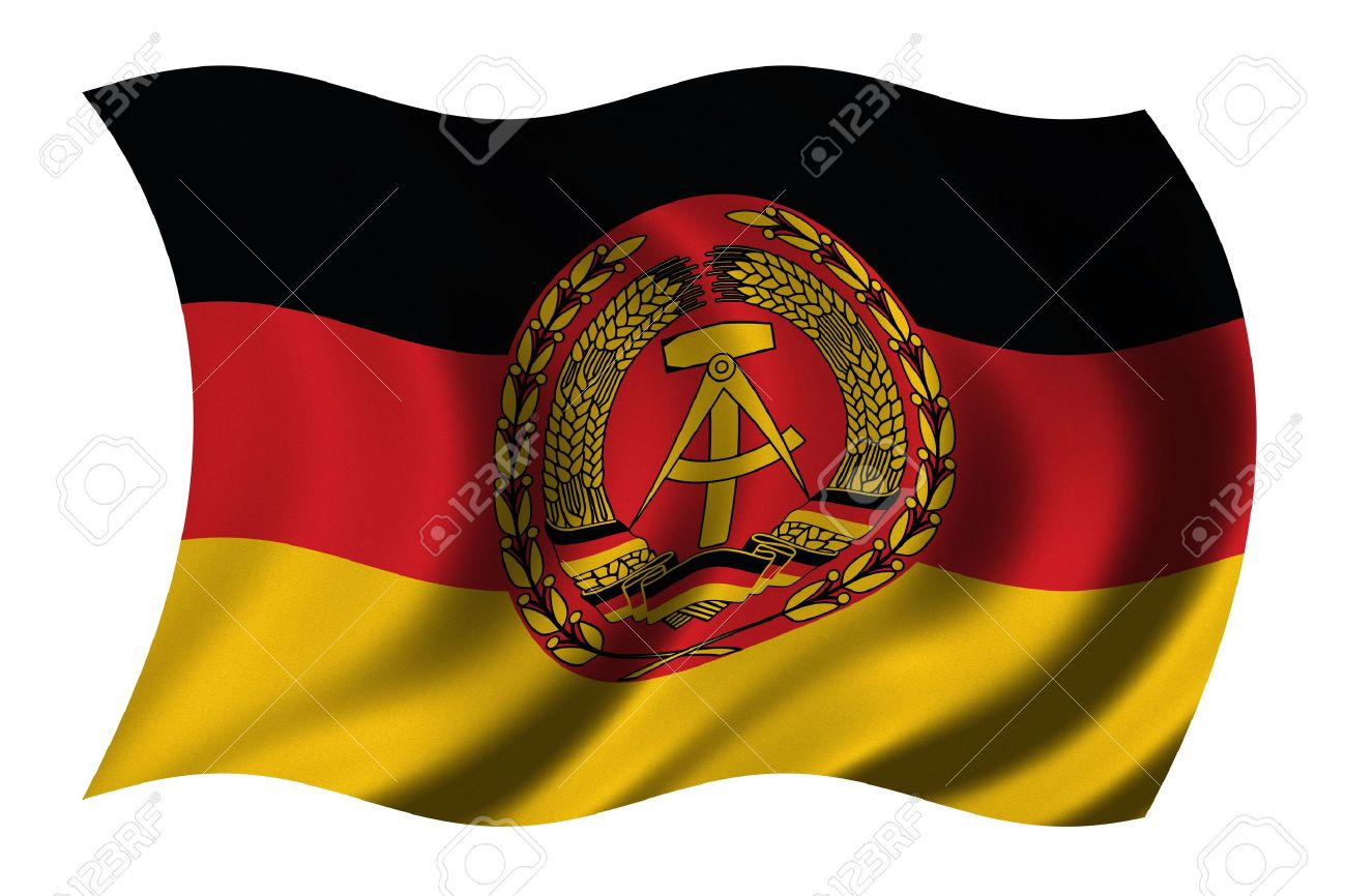 flag of the german democratic republic gdr east germany waving