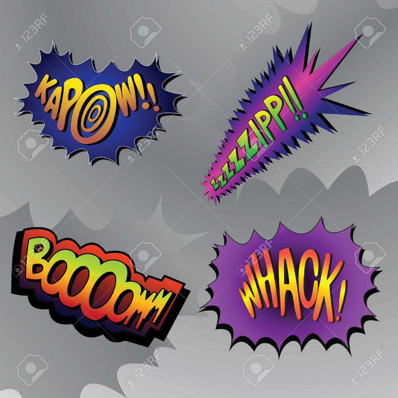 Superhero bashing #4 - comic fighting bubbles of super heroes Stock Vector - 1797664