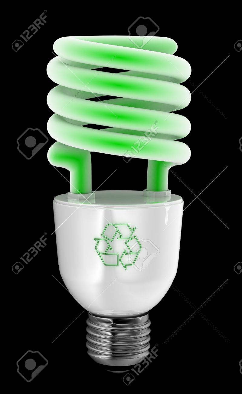 Energy Saving Light Bulb With Recycling Symbol Over Black Background