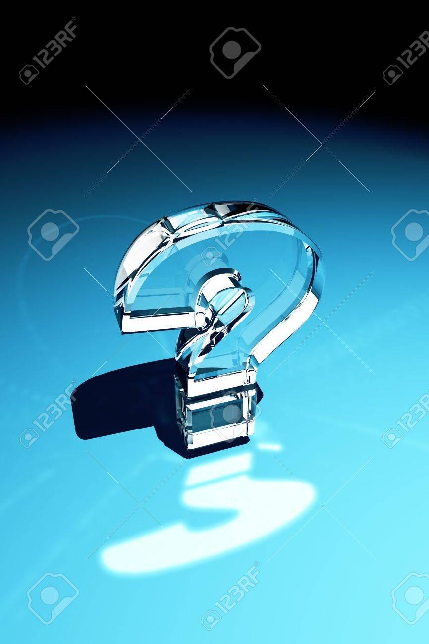 Hervorragend Fragezeichen Aus Glas Mit Reflexion über Blauem Hintergrund  BU79