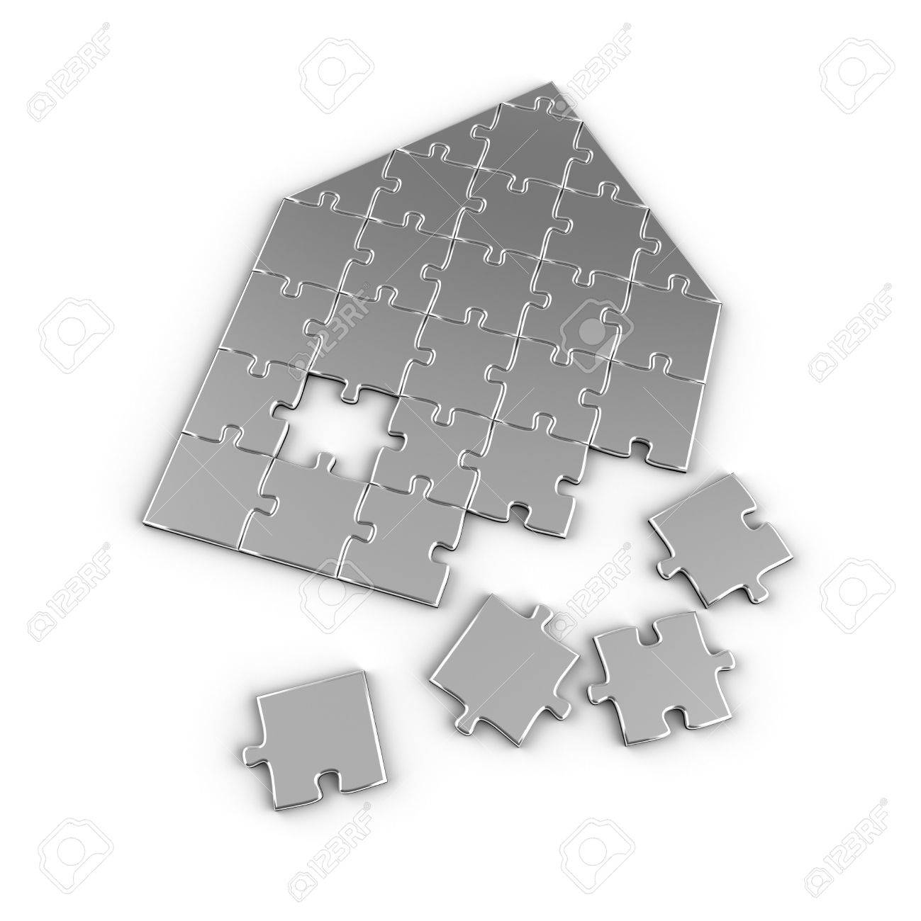 House concept with puzzle pieces over white background Stock Photo - 7306823