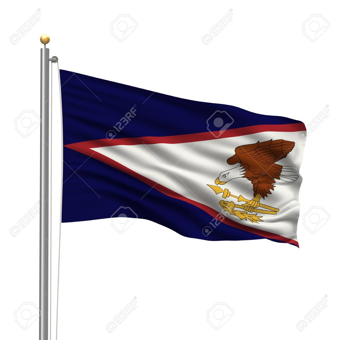 Flag of American Samoa with flag pole waving in the wind over white background Stock Photo - 8032329