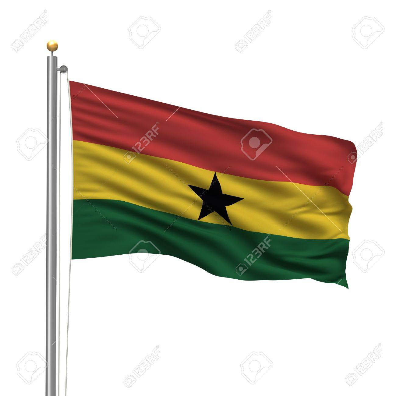 Flag of Ghana with flag pole waving in the wind over white background Stock Photo - 8118635