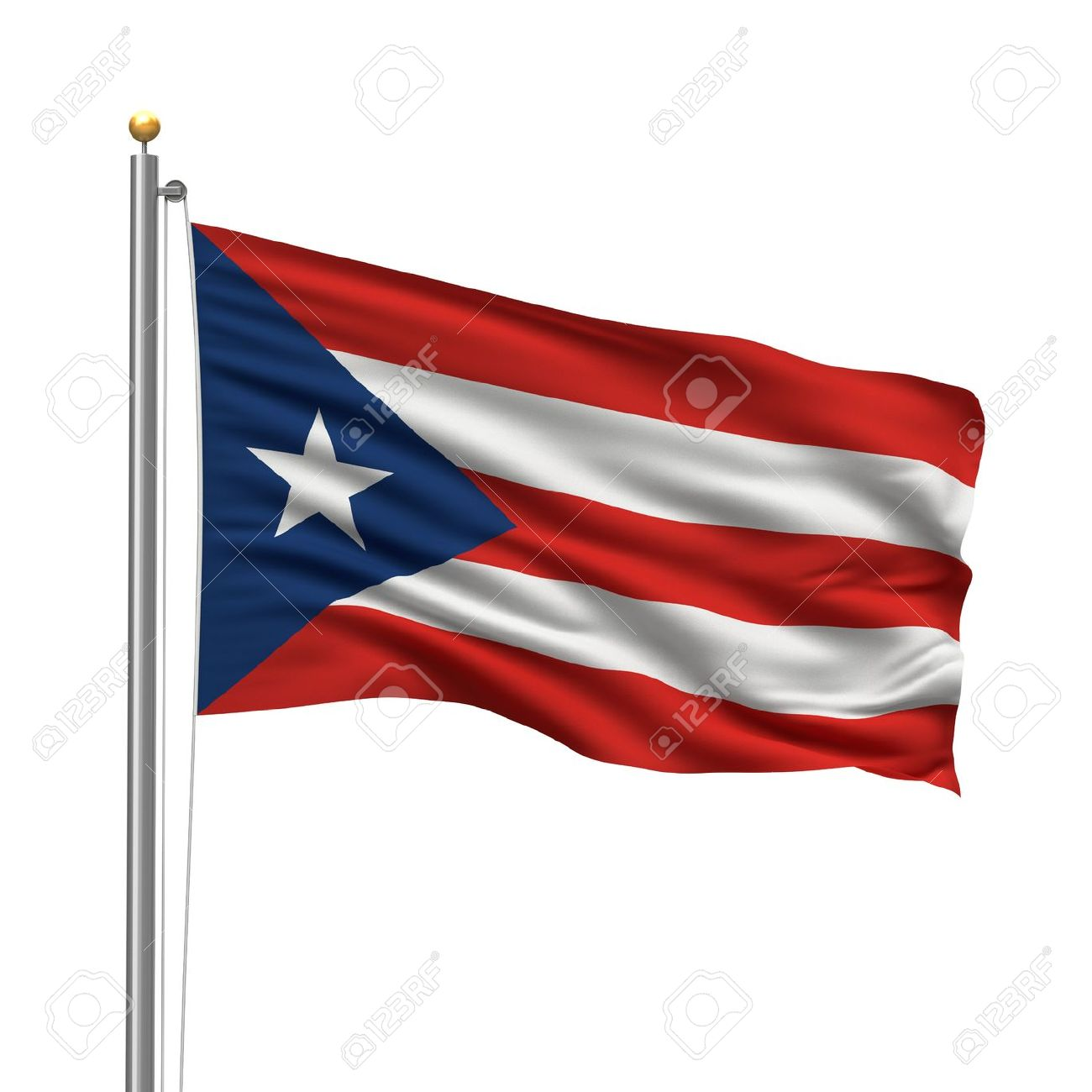 Flag of puerto rico with flag pole waving in the wind over white flag of puerto rico with flag pole waving in the wind over white background stock photo biocorpaavc Image collections