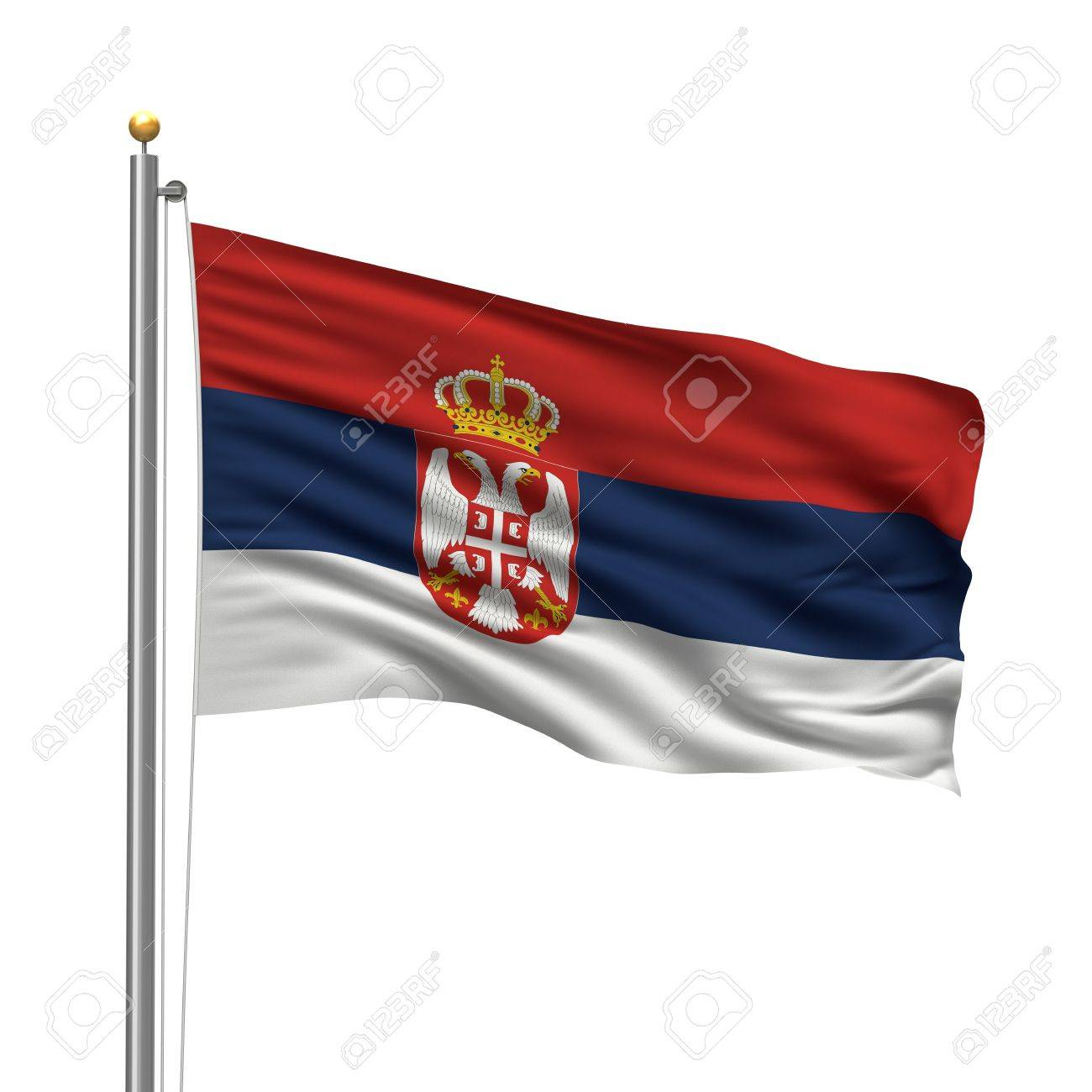Flag of Serbia with flag pole waving in the wind over white background Stock Photo - 8186982
