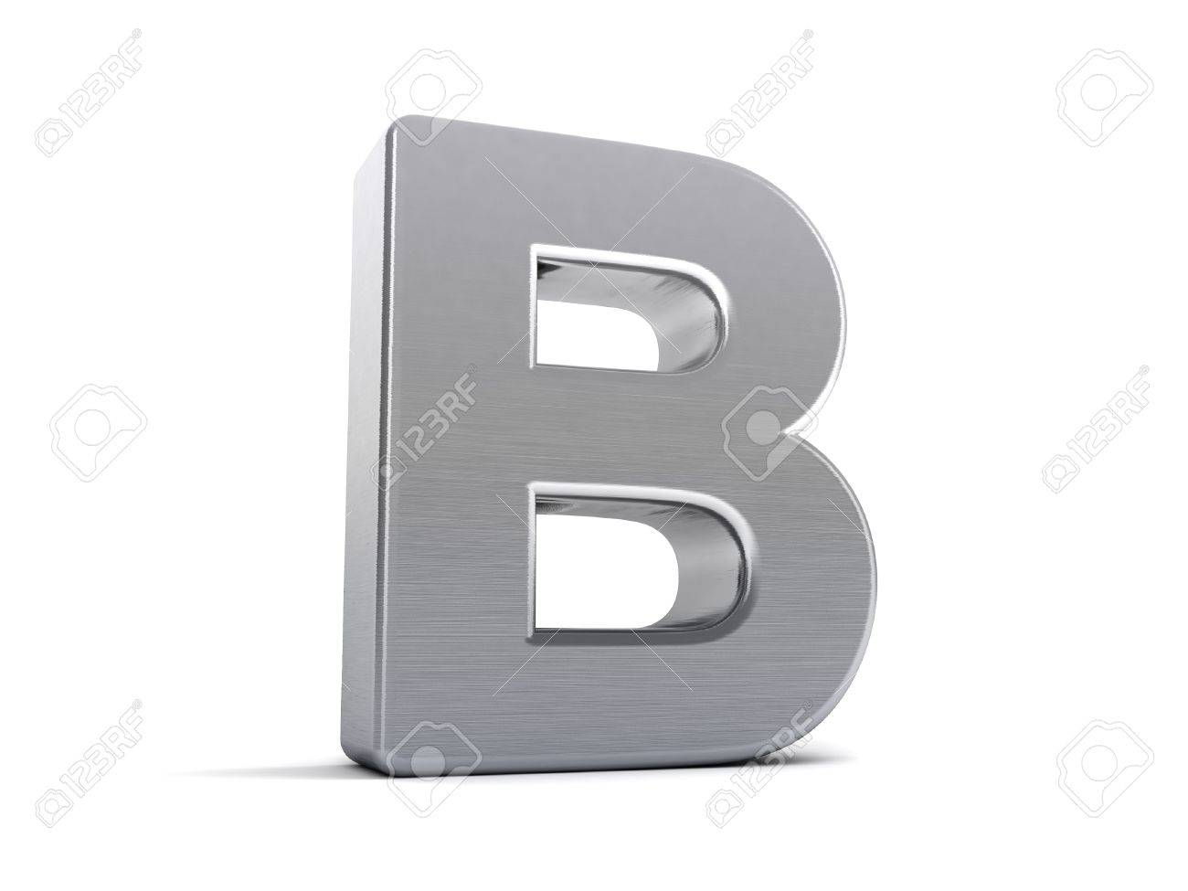 Letter B as a brushed metal 3D object Stock Photo - 8853441