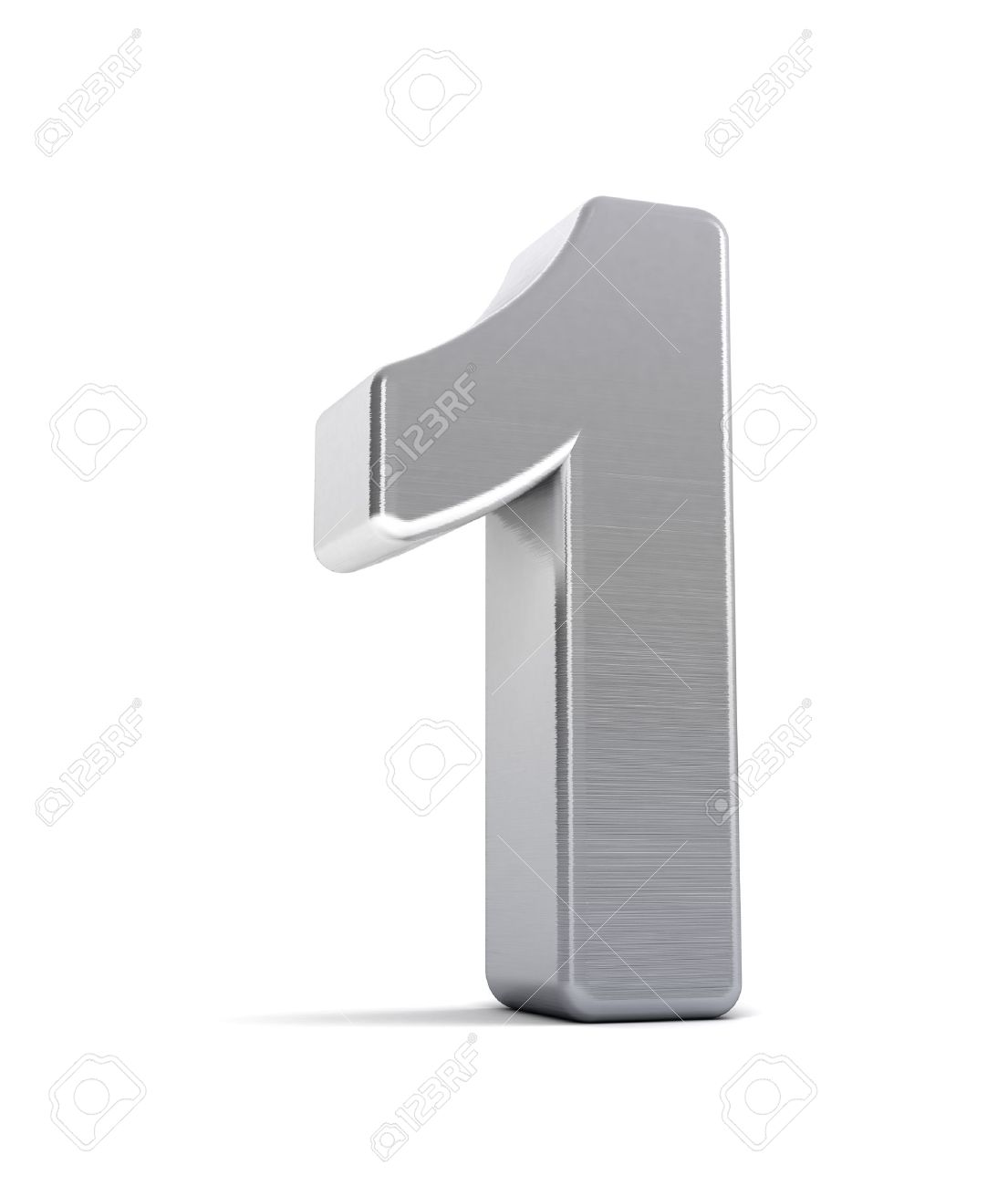 The number one as a brushed chrome object over white Stock Photo - 8853458